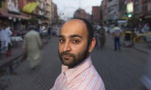 Pakistani writer Mohsin Hamid on Anarkali Street in Lahore, Pakistan.