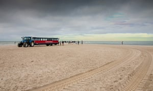 Grenen beach and the 'sand worm' bus.