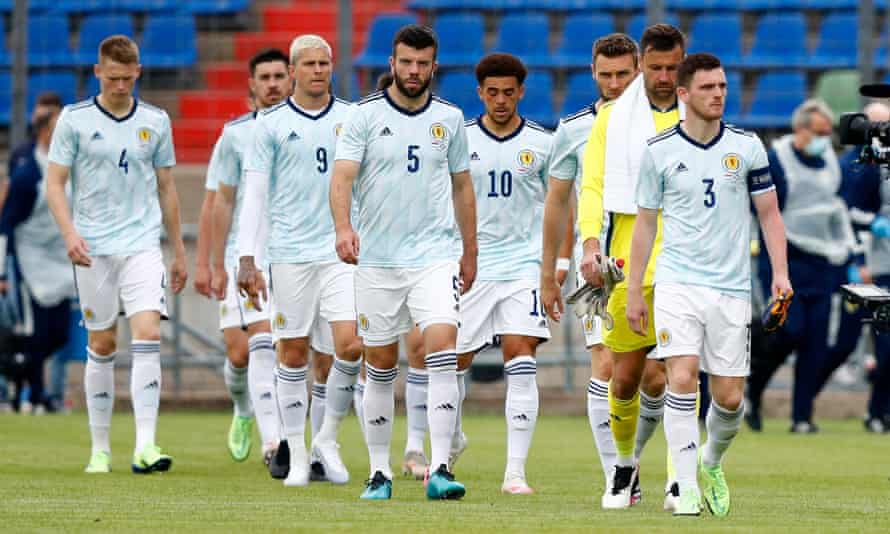 Scotland squad, with captain Andy Robertson, waking on to the pitch.