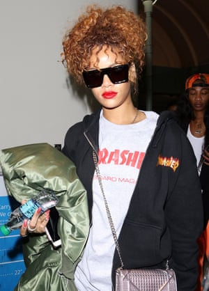 Rihanna in a Thrasher T-shirt and hoodie, 2015.