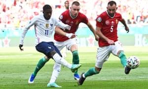 France's Ousmane Dembele shoots at goal.