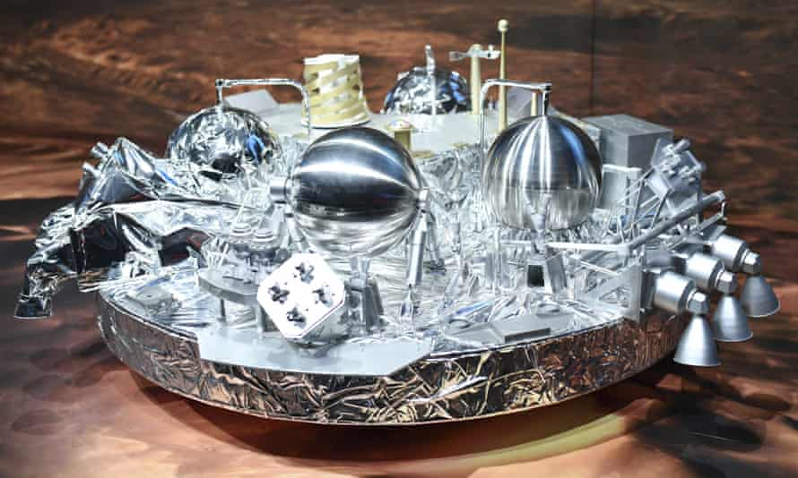 A model of Schiaparelli, the mars landing device, on display at the European Space Agency in Darmstadt, Germany.