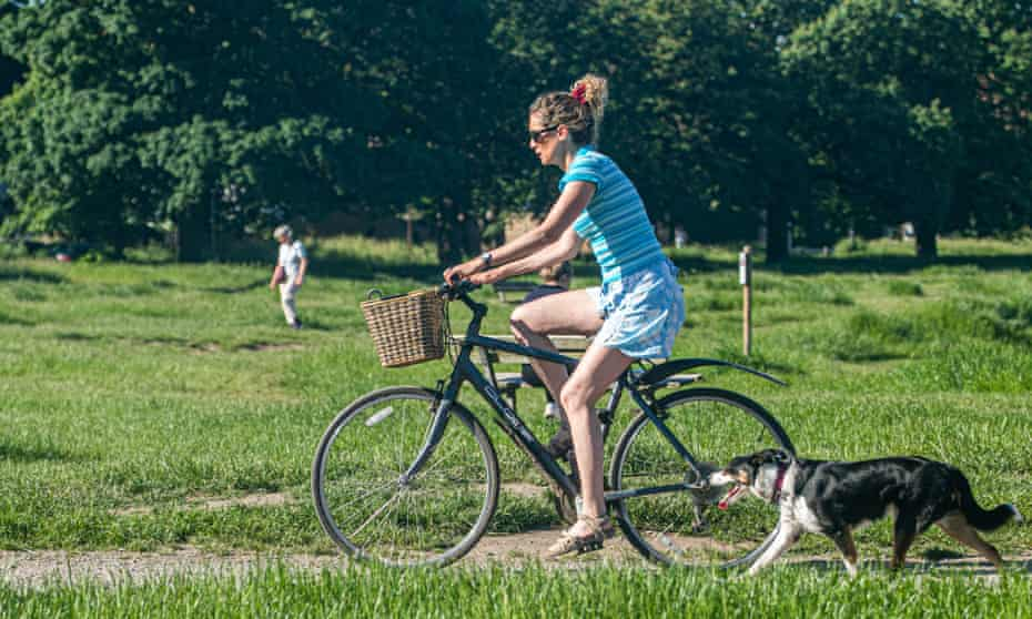 Woman cycling through park with dog.
