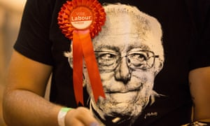 A Labour supporter in a Bernie Sanders T-shirt at the Harrow count