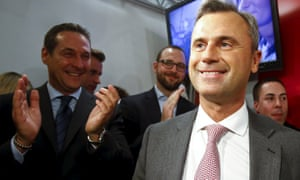 Norbert Hofer and head of the Austrian Freedom party Heinz-Christian Strache