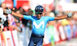 Nairo Quintana celebrates as he crosses the finish line to win Vuelta a España Stage 2.