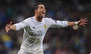 Cristiano Ronaldo celebrates scoring his, and Real Madrid's third goal.