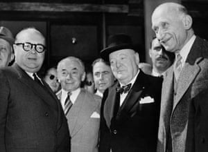 Left to right, Paul-Henri Spaak from Belgium, the European Council's Paul Reynaud, the former (and future) British PM Winston Churchill, and the French foreign minister Robert Schuman at a European Council meeting in 1950.