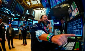 Traders at the New York Stock Exchange. The Dow lost 800 points (3%) on Wednesday, its worst performance of the year.