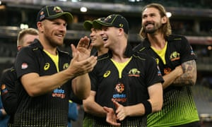 Aaron Finch, Steve Smith and Kane Richardson celebrate series victory after a comfortable win in the third T20 against Pakistan.