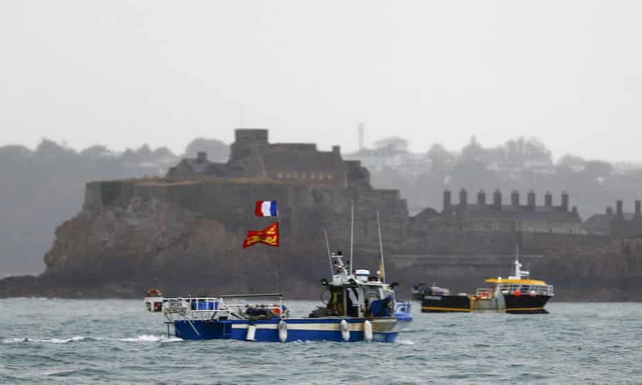 Fishing boats protesting in front of the Jersey port of St Helier in May.