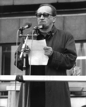 Countdown to collapse … playwright Heiner Müller, who was once banned, at the Alexanderplatz protest.
