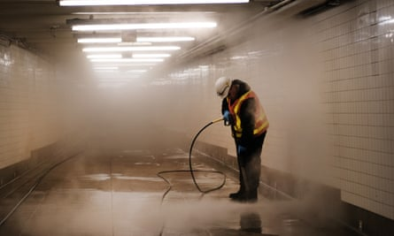 New York City On Edge As Coronavirus Spreads<br>NEW YORK, NEW YORK - MARCH 11: Workers clean a subway station in Brooklyn as New York City confronts the coronavirus outbreak on March 11, 2020 in New York City. President Donald Trump announced on Wednesday evening that he is restricting passenger travel from 26 European nations to the U.S. in an effort to contain the coronavirus which is rapidly spreading throughout the world and America. (Photo by Spencer Platt/Getty Images)
