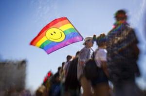Rainbow flag with smiley face