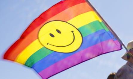 A rainbow flag at a Pride parade