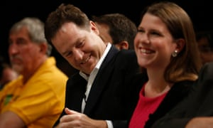 Jo Swinson MP and then deputy prime minister and party leader Nick Clegg at the Lib Dem 2012 conference.