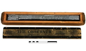 Observer hot metal masthead housed within a wooden box. This lead masthead was used in the last edition of The Observer to be printed in hot metal. (GNM Archive ref: OBS/12/4/3)