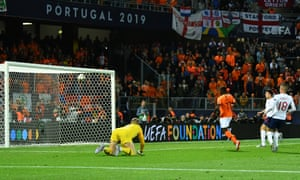 Netherlands' Quincy Promes scores their third goal.