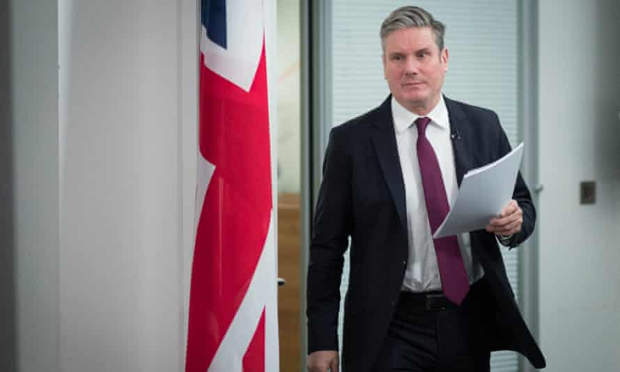 Sir Keir Starmer arrives to deliver a virtual speech on securing the economy for families during lockdown