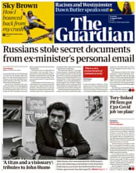 Guardian front page, Tuesday 4 August 2020