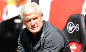 Mark Hughes keeps an eye on proceedings during last weekend's 3-0 home defeat by Borussia Monchengladbach at St Mary's.
