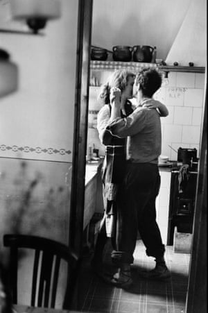 """Robert and Mary Frank, Valencia, Spain, 1952 """"The work I care about is terribly simple. I observe, I try to entertain, but above all I want pictures that are emotional. Little else interests me in photography. Today, so much is being done by unemotional people, or at least it looks that way ...I mean, work that's fascinating and fun and clever and technically brilliant. But if it's not personal, then it misses what interesting photography is about."""" – Elliott Erwitt, in Personal Exposures, 1988"""
