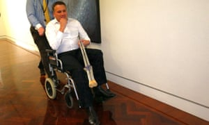 An injured Jamie Briggs enters the Liberal party room in Parliament House on 15 September after a party in Tony Abbott's office the previous night.
