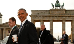 Barack Obama met Angela Merkel in Berlin to discuss sanctions on Russia, the fight against Islamic State and EU-US trade.