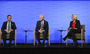 (L-R) Australian Retailers Association CEO Paul Zahra, Deloitte Access Economics partner Chris Richardson and Australian Council of Social Service CEO Cassandra Goldie attend a debate at the National Press Club in Canberra on Wednesday.