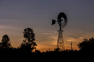 Silhouette of a windmill in Queensland.