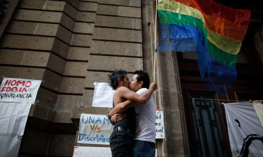 Gay rights activists in Mexico City. Same-sex marriage is currently only legal in a some parts of Mexico.
