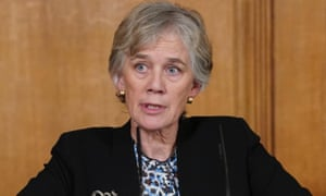 Britain's deputy chief scientific adviser, Prof Angela McLean, at Tuesday's Covid-19 press conference in Downing Street.