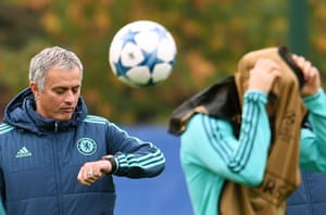 Chelsea manager José Mourinho leads his team's training session at their Cobham training complex on Tuesday.