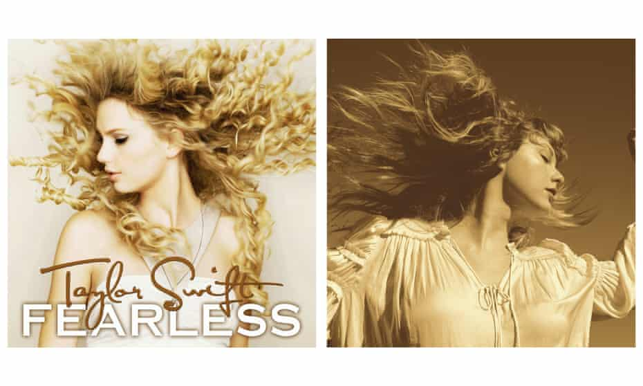 The cover of Fearless in 2008, alongside the 2021 rerecording.
