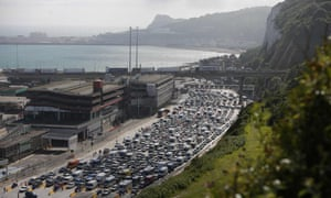 Lines of traffic queue to enter the port of Dover