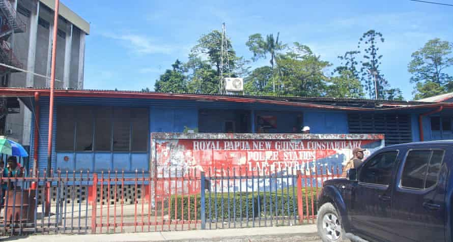 The police station in Lae where Sawari ended up sleeping after he left his PNG immigration-provided house.