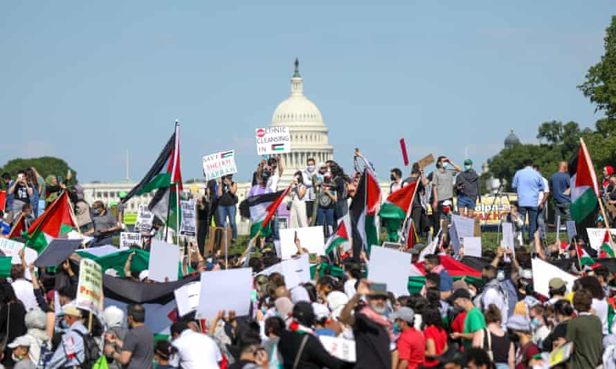 A recent rally in support of Palestinians near the Washington monument in Washington, DC.