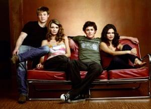 Benjamin McKenzie as Ryan, Mischa Barton as Marissa, Adam Brody as Seth and Rachel Bilson as Summer in The OC