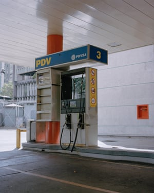 A closed gas station in Caracas, Venezuela.