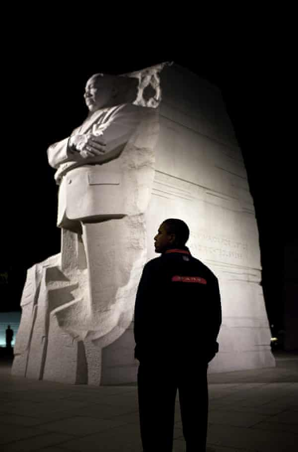 Obama at The Martin Luther King Jr National Memorial in Washington in 2011.
