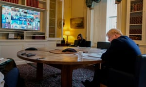 Boris Johnson on a video conference call while he was self-isolating at 11 Downing Street.