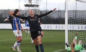 Beckie celebrates scoring City's third goal