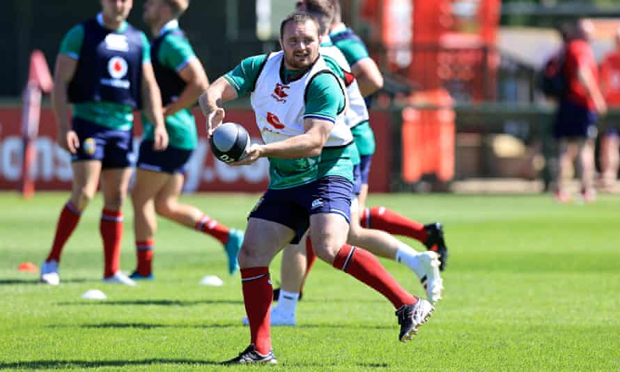 Ken Owens passes the ball during a British & Irish Lions training session in Jersey