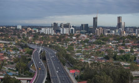 View of Parramatta and the M4
