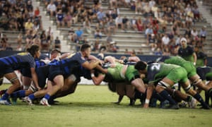 Glendale, in blue, take on Seattle in the first Major League Rugby championship game, in San Diego in 2018.