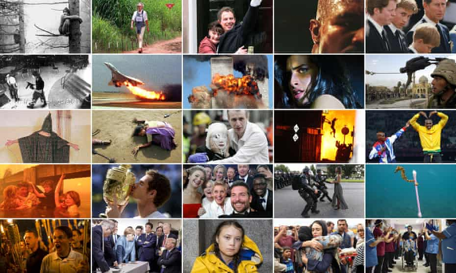 A montage of 25 small news photographs covering Greg Whitmore's time at the Observer