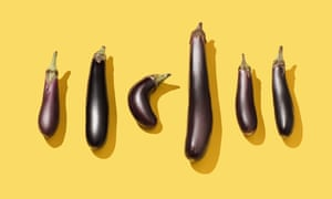 Six aubergines of different shapes and sizes