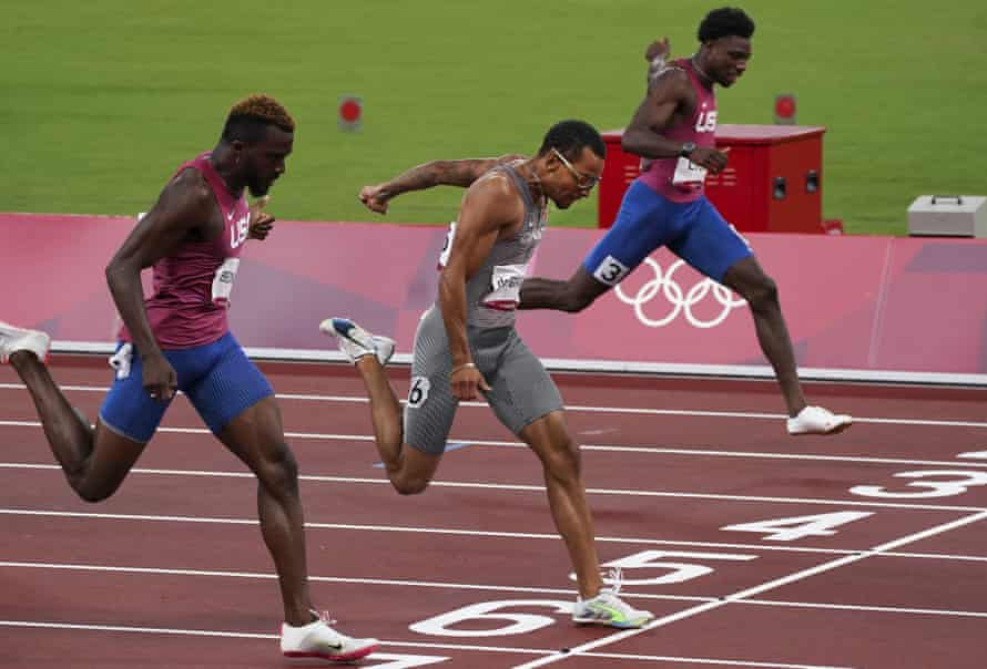 Andre De Grasse (centre) takes victory ahead of Kenny Bednarek (left) and pre-Games favourite Noah Lyles (top)