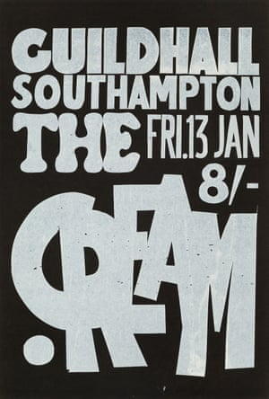 Gig poster for Cream, artist unknown, 1967. Available from Rock Paper Film