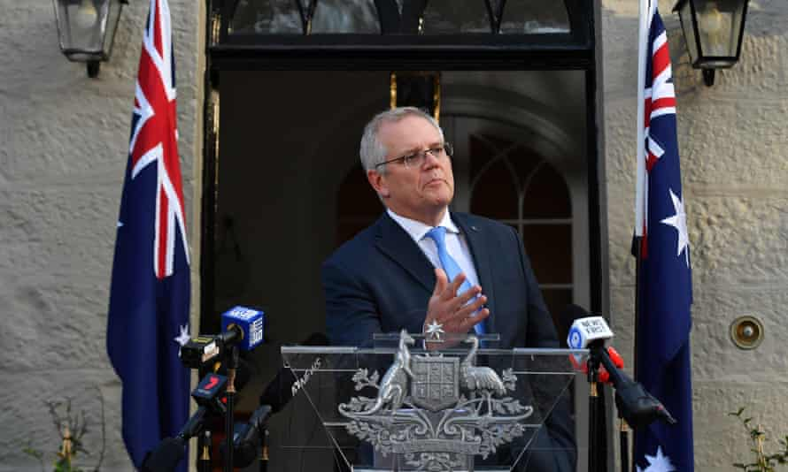 Australian prime minister Scott Morrison during a Covid briefing at Kirribilli House in Sydney
